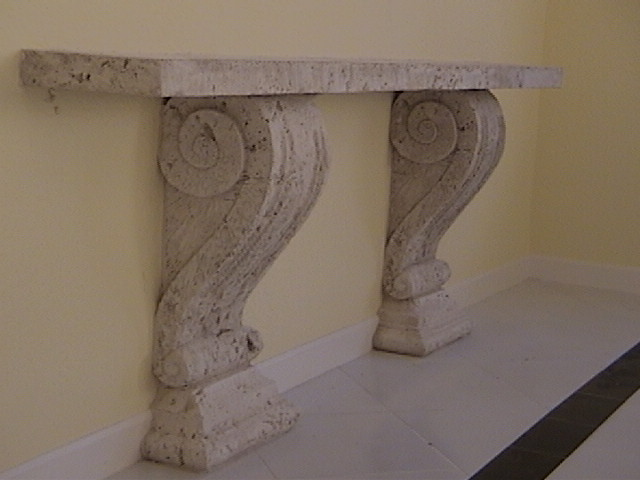 stoneman inc cast coral stone serving table
