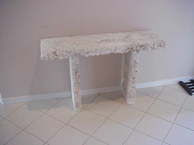 stoneman inc natural coral stone foyer table