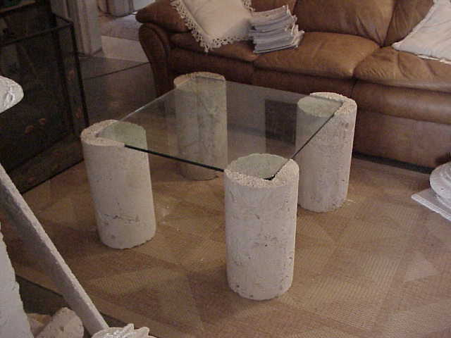 stoneman inc cast coral stone coffee table