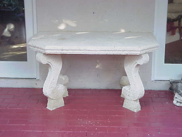 stoneman inc cast coral stone accent patio table