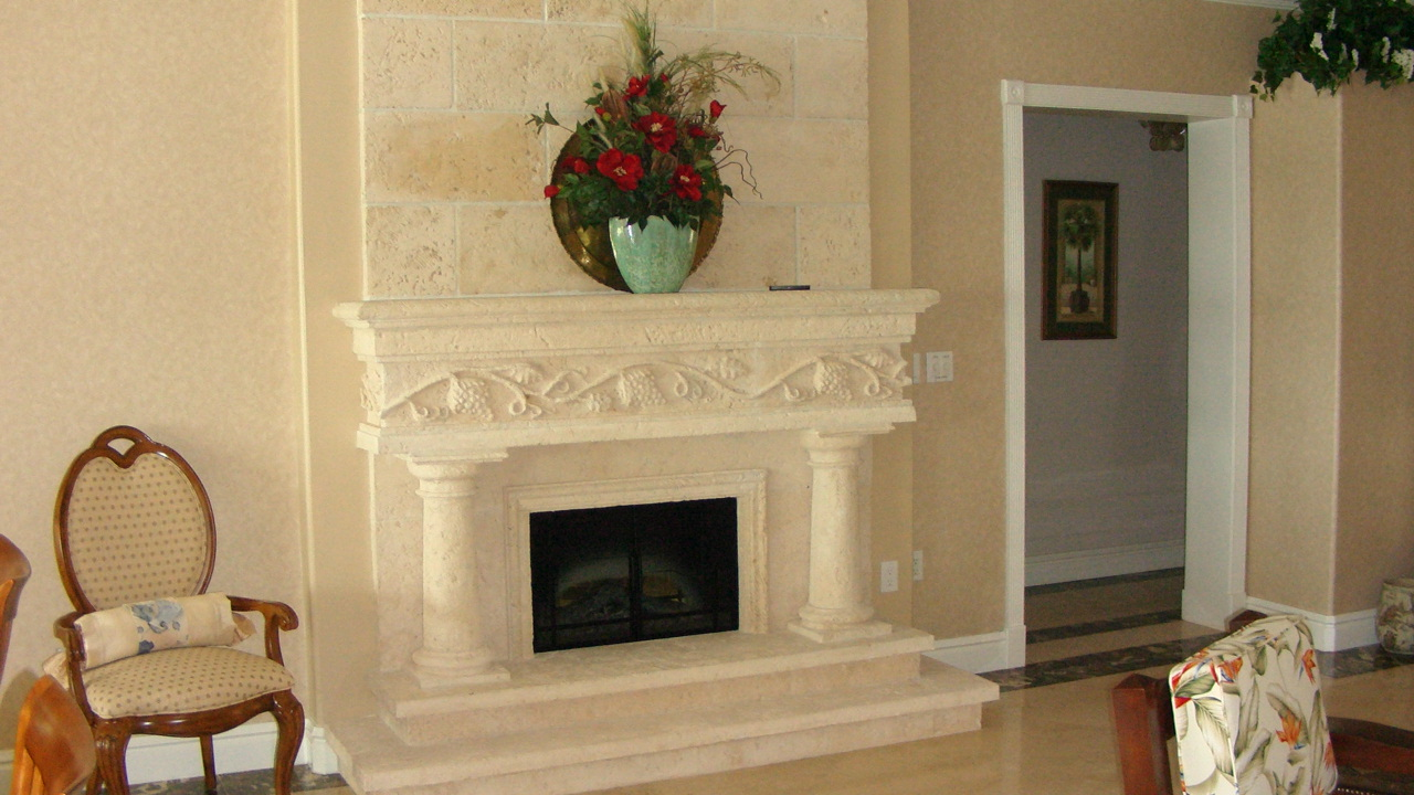 Custom Fireplace Model FP-GV-WC-2T-CM, Designed and Installed by Stoneman, Inc.