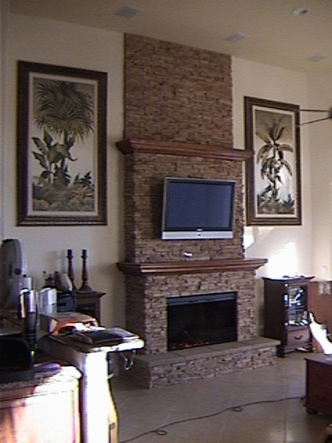 Custom Fireplace Model FP-LF-CM, Designed and Installed by Stoneman, Inc.