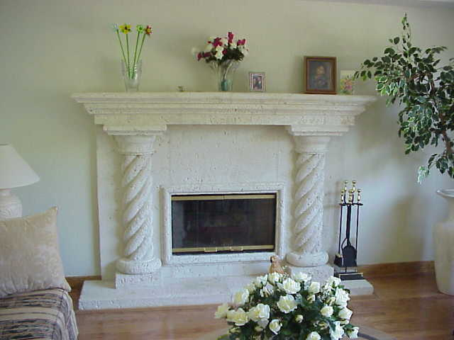 Cast Coral Stone Fireplace, Model FP-RC-CM, Designed and Installed by Stoneman, Inc.