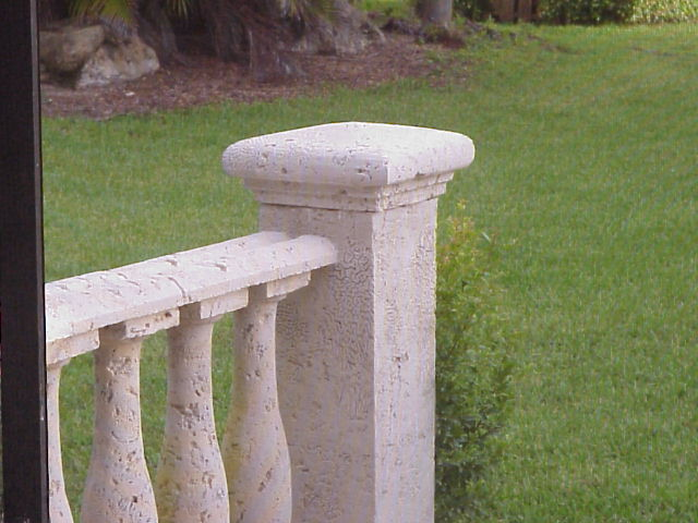 cast coral stone pier with pier cap