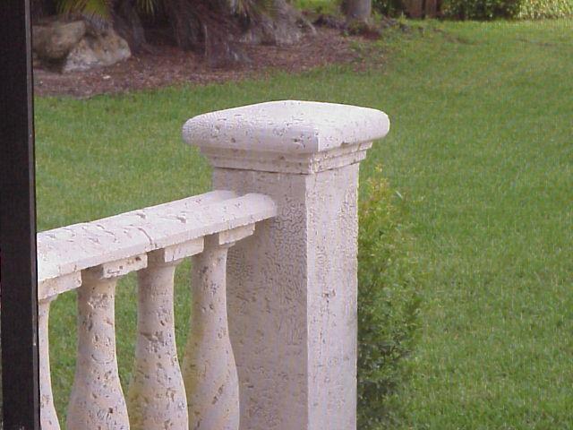 cast coral stone pier with pier cap