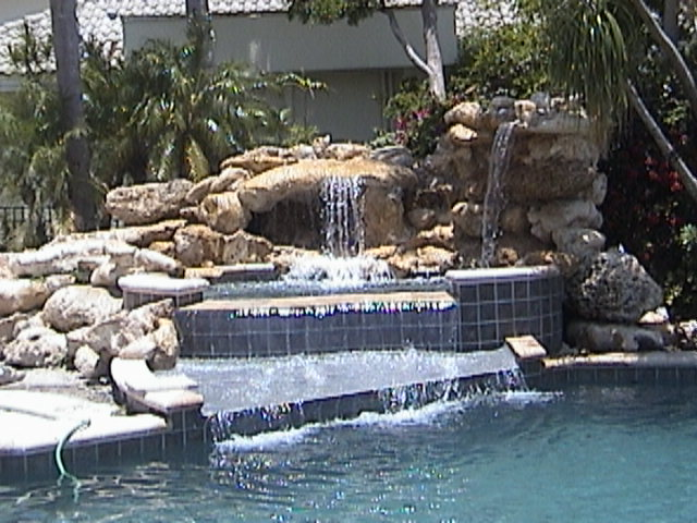 Waterfalls at Resident's Home in Broken Sound Country Club, Boca Raton, Florida, Designed and Installed by Stoneman, Inc.