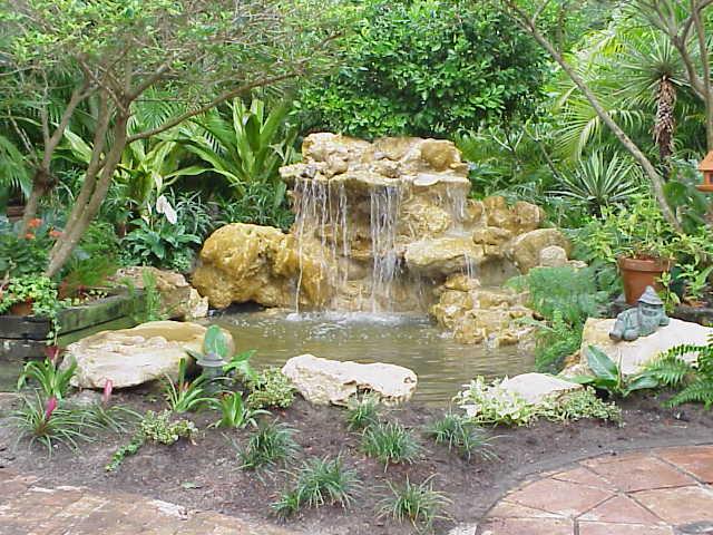 waterfall at Perans fish pond