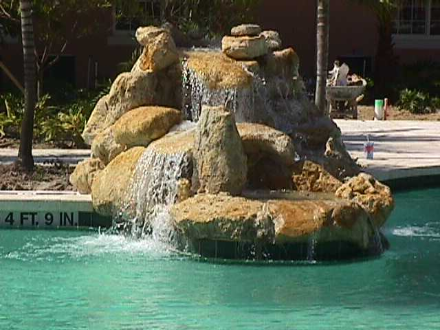 peninsula waterfall at San Michelle Country Club